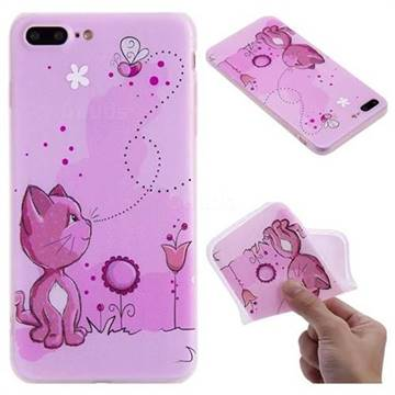 Cat and Bee 3D Relief Matte Soft TPU Back Cover for iPhone 8 Plus / 7 Plus 7P(5.5 inch)