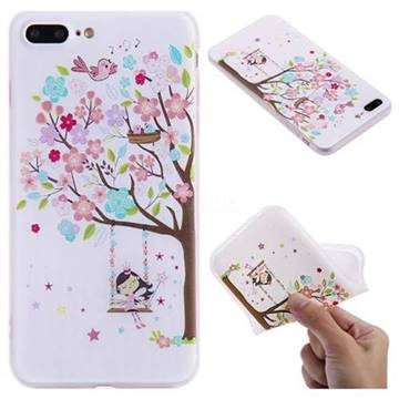 Tree and Girl 3D Relief Matte Soft TPU Back Cover for iPhone 8 Plus / 7 Plus 7P(5.5 inch)