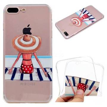 Beach Chair Girl Super Clear Soft TPU Back Cover for iPhone 8 Plus / 7 Plus 7P(5.5 inch)