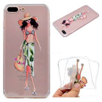 Bikini Girl Super Clear Soft TPU Back Cover for iPhone 8 Plus / 7 Plus 7P(5.5 inch)