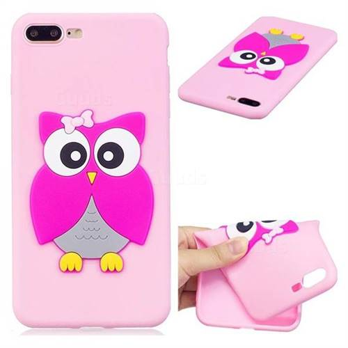 Pink Owl Soft 3D Silicone Case for iPhone 8 Plus / 7 Plus 7P(5.5 inch)
