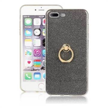 Luxury Soft TPU Glitter Back Ring Cover with 360 Rotate Finger Holder Buckle for iPhone 8 Plus / 7 Plus 7P(5.5 inch) - Black