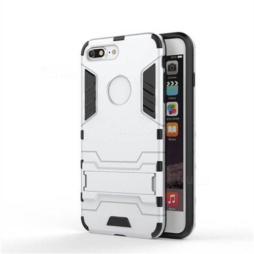 Armor Premium Tactical Grip Kickstand Shockproof Dual Layer Rugged Hard Cover for iPhone 8 Plus / 7 Plus 7P(5.5 inch) - Silver