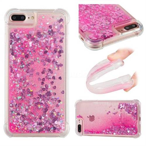 Dynamic Liquid Glitter Sand Quicksand TPU Case for iPhone 8 Plus / 7 Plus 7P(5.5 inch) - Pink Love Heart