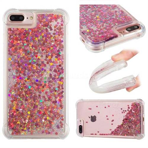 Dynamic Liquid Glitter Sand Quicksand TPU Case for iPhone 8 Plus / 7 Plus 7P(5.5 inch) - Rose Gold Love Heart