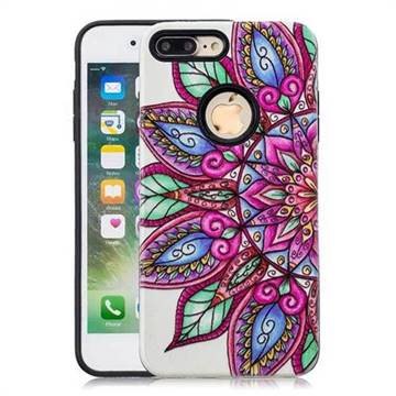 Mandara Flower Pattern 2 in 1 PC + TPU Glossy Embossed Back Cover for iPhone 8 Plus / 7 Plus 7P(5.5 inch)
