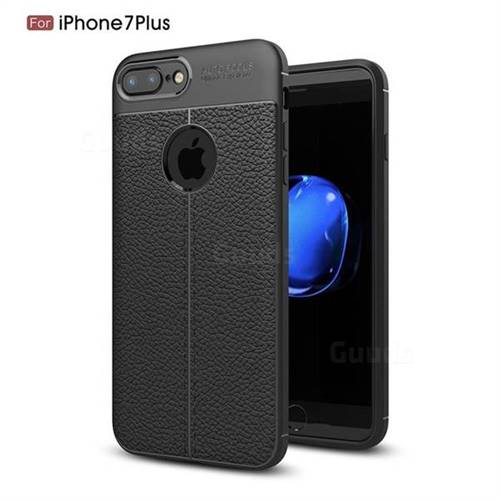 Luxury Auto Focus Litchi Texture Silicone TPU Back Cover for iPhone 8 Plus / 7 Plus 7P(5.5 inch) - Black