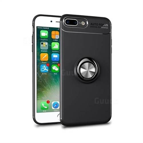 Auto Focus Invisible Ring Holder Soft Phone Case for iPhone 8 Plus / 7 Plus 7P(5.5 inch) - Black