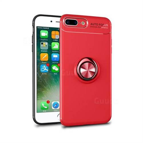 Auto Focus Invisible Ring Holder Soft Phone Case for iPhone 8 Plus / 7 Plus 7P(5.5 inch) - Red