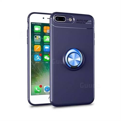 Auto Focus Invisible Ring Holder Soft Phone Case for iPhone 8 Plus / 7 Plus 7P(5.5 inch) - Blue