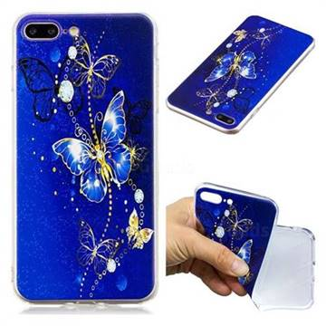 Gold and Blue Butterfly Super Clear Soft TPU Back Cover for iPhone 8 Plus / 7 Plus 7P(5.5 inch)