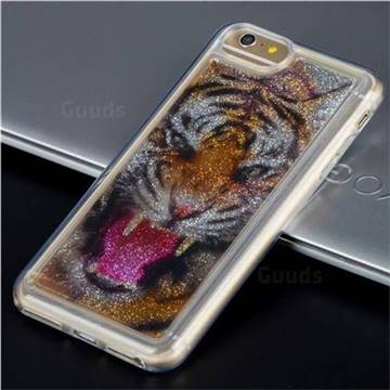 Tiger Glassy Glitter Quicksand Dynamic Liquid Soft Phone Case for iPhone 8 Plus / 7 Plus 7P(5.5 inch)
