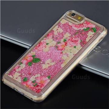 Rose Flower Glassy Glitter Quicksand Dynamic Liquid Soft Phone Case for iPhone 8 Plus / 7 Plus 7P(5.5 inch)