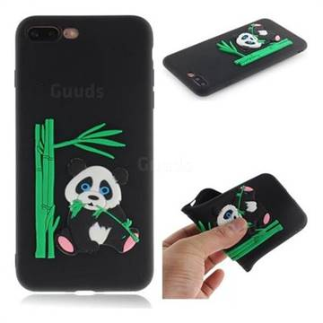 Panda Eating Bamboo Soft 3D Silicone Case for iPhone 8 Plus / 7 Plus 7P(5.5 inch) - Black
