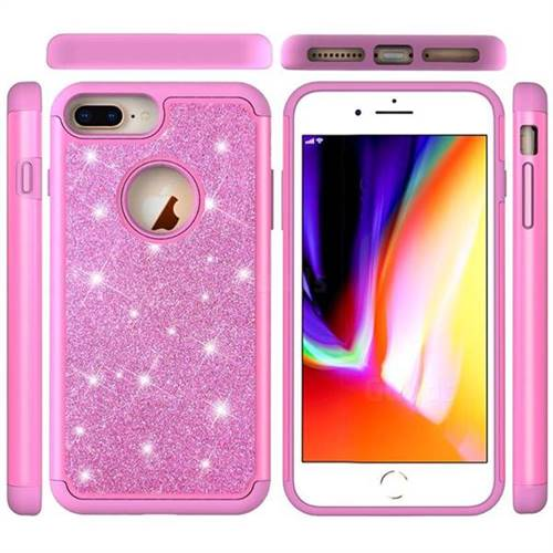 cheap for discount 1c674 a2a2d Glitter Rhinestone Bling Shock Absorbing Hybrid Defender Rugged Phone Case  Cover for iPhone 8 Plus / 7 Plus 7P(5.5 inch) - Pink