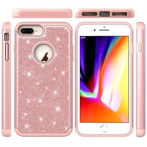 Glitter Rhinestone Bling Shock Absorbing Hybrid Defender Rugged Phone Case Cover For Iphone 8 Plus 7 Plus 7p55 Inch Rose Gold