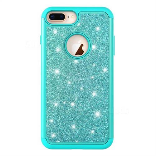 huge selection of 09d6c fb4b7 Glitter Rhinestone Bling Shock Absorbing Hybrid Defender Rugged Phone Case  Cover for iPhone 8 Plus / 7 Plus 7P(5.5 inch) - Green