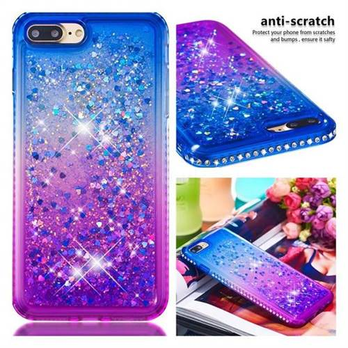 new concept 96965 6dda6 Diamond Frame Liquid Glitter Quicksand Sequins Phone Case for iPhone 8 Plus  / 7 Plus 7P(5.5 inch) - Blue Purple