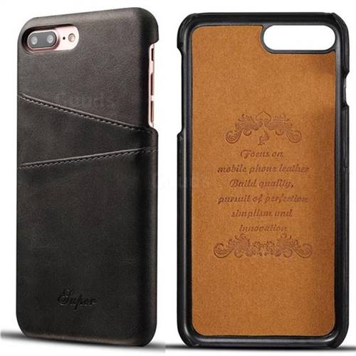 Suteni Retro Classic Card Slots Calf Leather Coated Back Cover for iPhone 8 Plus / 7 Plus 7P(5.5 inch) - Black