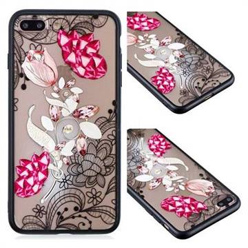 Tulip Lace Diamond Flower Soft TPU Back Cover for iPhone 8 Plus / 7 Plus 7P(5.5 inch)
