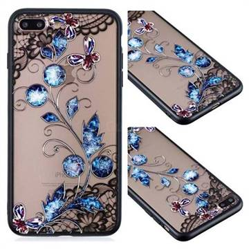 Butterfly Lace Diamond Flower Soft TPU Back Cover for iPhone 8 Plus / 7 Plus 7P(5.5 inch)