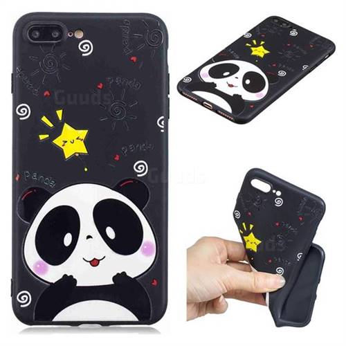 Cute Bear 3D Embossed Relief Black TPU Cell Phone Back Cover for iPhone 8 Plus / 7 Plus 7P(5.5 inch)