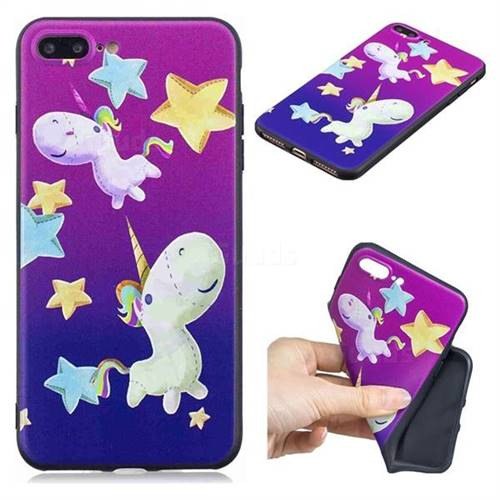 Pony 3D Embossed Relief Black TPU Cell Phone Back Cover for iPhone 8 Plus / 7 Plus 7P(5.5 inch)