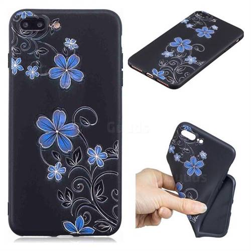 Little Blue Flowers 3D Embossed Relief Black TPU Cell Phone Back Cover for iPhone 8 Plus / 7 Plus 7P(5.5 inch)