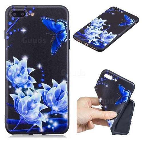 Blue Butterfly 3D Embossed Relief Black TPU Cell Phone Back Cover for iPhone 8 Plus / 7 Plus 7P(5.5 inch)