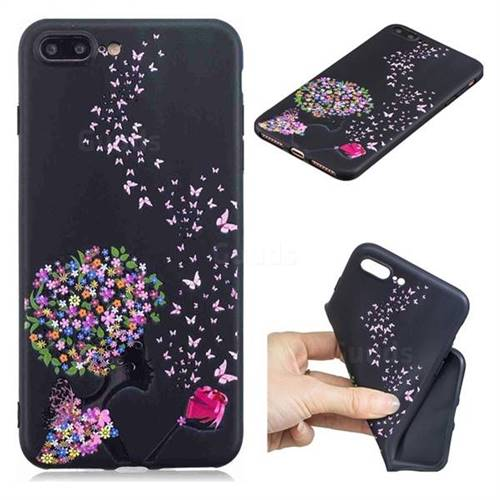 Corolla Girl 3D Embossed Relief Black TPU Cell Phone Back Cover for iPhone 8 Plus / 7 Plus 7P(5.5 inch)