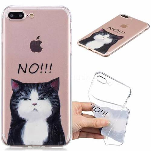 No Cat Clear Varnish Soft Phone Back Cover for iPhone 8 Plus / 7 Plus 7P(5.5 inch)