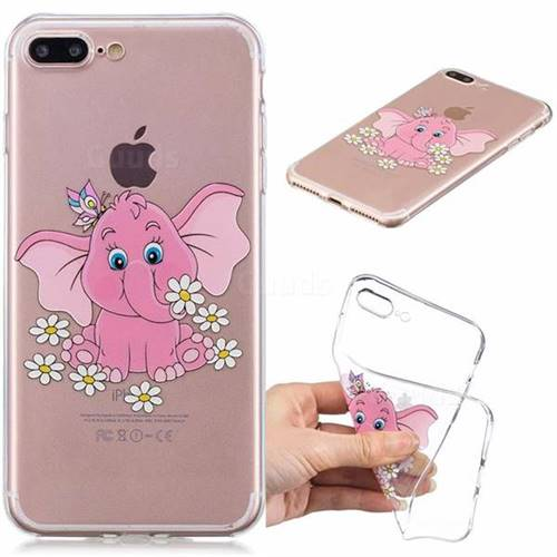Tiny Pink Elephant Clear Varnish Soft Phone Back Cover for iPhone 8 Plus / 7 Plus 7P(5.5 inch)