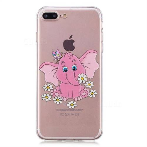huge discount 3315c 8dcf3 Tiny Pink Elephant Clear Varnish Soft Phone Back Cover for iPhone 8 Plus /  7 Plus 7P(5.5 inch)