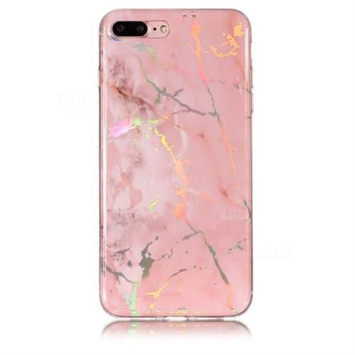 new product b8088 6b36f Powder Pink Marble Pattern Bright Color Laser Soft TPU Case for iPhone 8  Plus / 7 Plus 7P(5.5 inch)