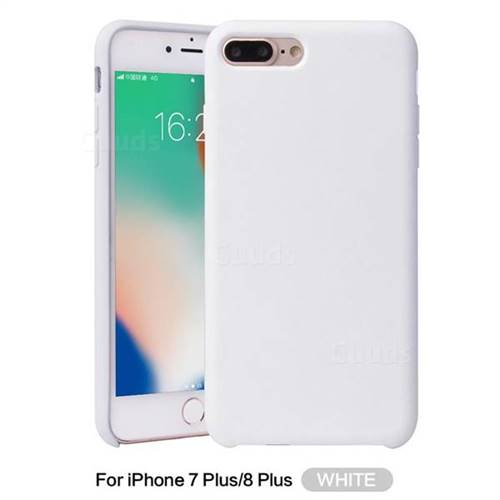 promo code b806a 943c7 Howmak Slim Liquid Silicone Rubber Shockproof Phone Case Cover for iPhone 8  Plus / 7 Plus 7P(5.5 inch) - White
