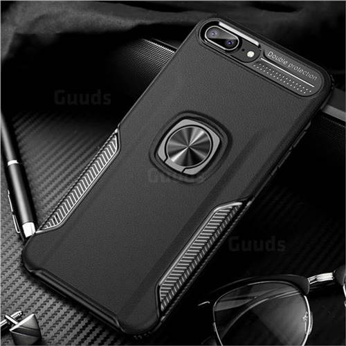 Knight Armor Anti Drop PC + Silicone Invisible Ring Holder Phone Cover for iPhone 8 Plus / 7 Plus 7P(5.5 inch) - Black