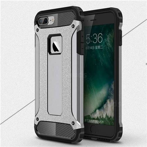King Kong Armor Premium Shockproof Dual Layer Rugged Hard Cover for iPhone 8 Plus / 7 Plus 7P(5.5 inch) - Silver Grey