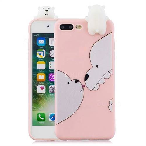 new concept bbff8 3f9f9 Big White Bear Soft 3D Climbing Doll Soft Case for iPhone 8 Plus / 7 Plus  7P(5.5 inch)
