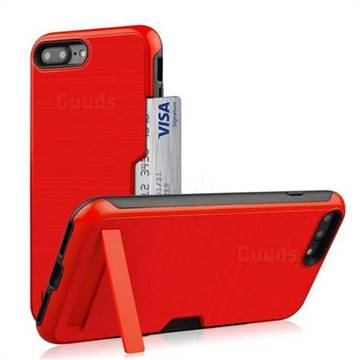 Brushed 2 in 1 TPU + PC Stand Card Slot Phone Case Cover for iPhone 8 Plus / 7 Plus 7P(5.5 inch) - Red