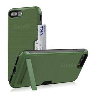 purchase cheap c19b7 4d976 Brushed 2 in 1 TPU + PC Stand Card Slot Phone Case Cover for iPhone 8 Plus  / 7 Plus 7P(5.5 inch) - Army Green