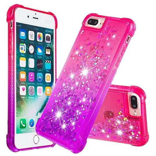 Rainbow Gradient Liquid Glitter Quicksand Sequins Phone Case for iPhone 8 Plus / 7 Plus 7P(5.5 inch) - Pink Purple