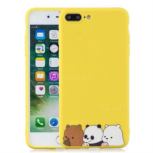 sale retailer 4277c 730db Yellow Bear Family Soft Kiss Candy Hand Strap Silicone Case for iPhone 8  Plus / 7 Plus 7P(5.5 inch)