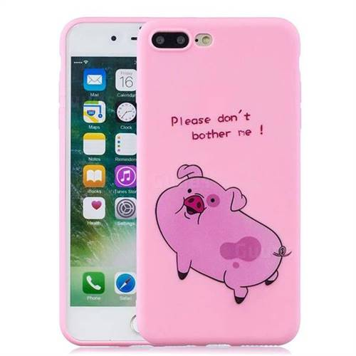 Pink Cute Pig Soft Kiss Candy Hand Strap Silicone Case for iPhone 8 Plus /  7 Plus 7P(5.5 inch)