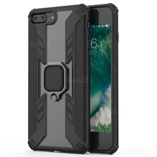 Predator Armor Metal Ring Grip Shockproof Dual Layer Rugged Hard Cover for iPhone 8 Plus / 7 Plus 7P(5.5 inch) - Black