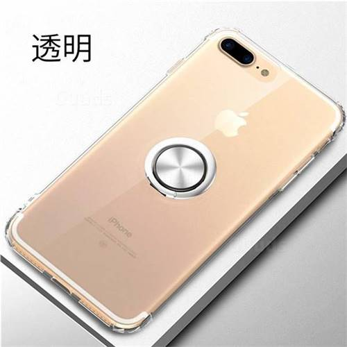 low priced 7981e de604 Anti-fall Invisible Press Bounce Ring Holder Phone Cover for iPhone 8 Plus  / 7 Plus 7P(5.5 inch) - Transparent - TPU Case - Guuds