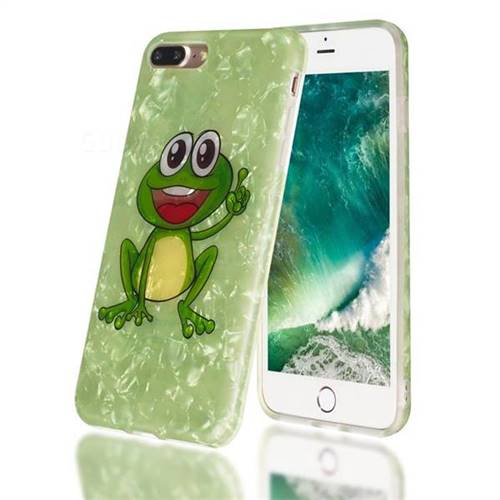 Smile Frog Shell Pattern Clear Bumper Glossy Rubber Silicone Phone Case for iPhone 8 Plus / 7 Plus 7P(5.5 inch)