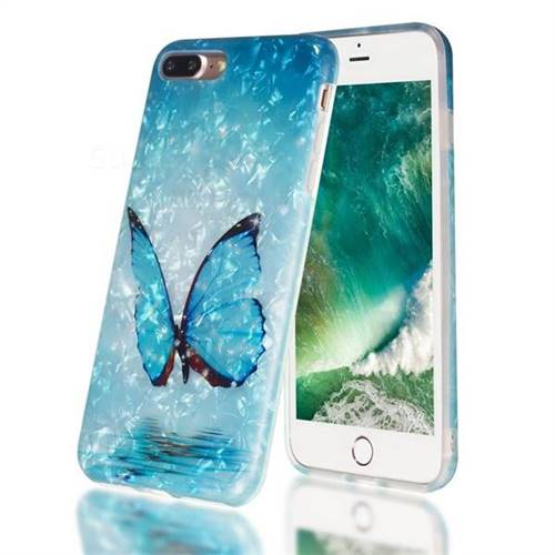 Sea Blue Butterfly Shell Pattern Clear Bumper Glossy Rubber Silicone Phone Case for iPhone 8 Plus / 7 Plus 7P(5.5 inch)