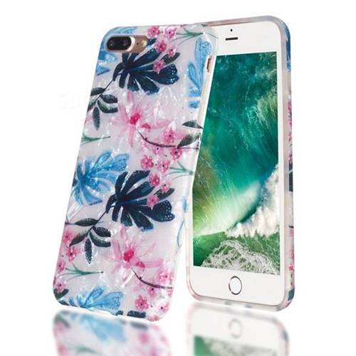 Flowers and Leaves Shell Pattern Clear Bumper Glossy Rubber Silicone Phone Case for iPhone 8 Plus / 7 Plus 7P(5.5 inch)