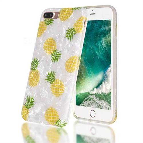 Yellow Pineapple Shell Pattern Clear Bumper Glossy Rubber Silicone Phone Case for iPhone 8 Plus / 7 Plus 7P(5.5 inch)