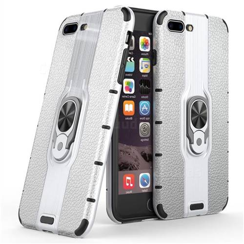Alita Battle Angel Armor Metal Ring Grip Shockproof Dual Layer Rugged Hard Cover for iPhone 8 Plus / 7 Plus 7P(5.5 inch) - Silver
